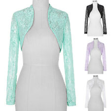 Ladies Womens Cropped LACE Long Sleeve Wedding Bolero Shrug Jacket Cardigan Top