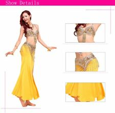 Belly Dance Costume Deluxe 2 pcs sets Bra Top and Hip Scarf Belt Sequins beads