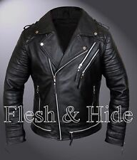 Genuine Lambskin Leather Biker Motorcycle Jacket with Quilting Details