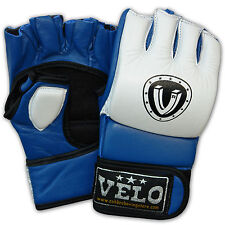 VELO Leather MMA Grappling Gloves Fight Boxing UFC Punch Bag Training Mitt BW
