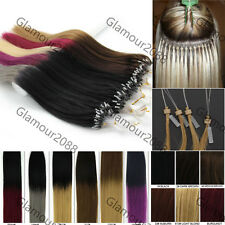 100s Easy Loop Micro Rings Beads Tipped Remy Human Hair Extensions Straight