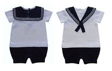 Baby Boys Knitted Cotton All in One Sailor Romper Newborn 0-9 Month Summer