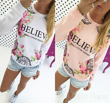 Fashion Women's T-Shirt Long Sleeve Shirt Casual Blouse Loose Cotton Tops New G