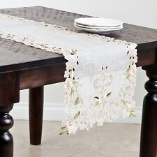 "Cherry Blossom Embroidered and Cutwork Table Runner (16""x72"")"