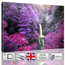 PURPLE AUTUM FOREST WATERFALL LANDSCAPE - CANVAS WALL ART DIGITAL PRINT PICTURE