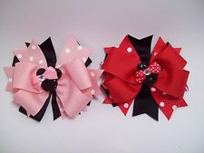 """Minnie Mouse Layered Hair Bows - Black/ light pink - Black/ red.  5"""" x 5"""" wide"""