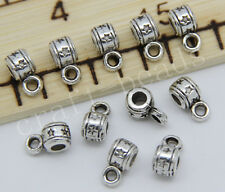 100/500pcs Antique Silver 3mm Hole Charm Bail Connector Bead DIY Making 9x5mm