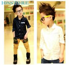 SHIRT BOYS LONG SLEEVE CLOTHES CHILDREN BLOUSE TOPS DOTS SHIRTS SPRING BLUE 2T-6