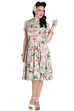 Hell Bunny Paradise Dress Bamboo Floral Retro Pinup Rockabilly 40s 50s Tea Party