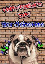 Bulldog Graffiti Fathers Day Personalised Greeting Card pidfd30 Dad Daddy