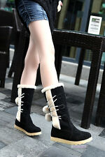 Women's Wedge Low Heel Boots Hairy Winter Warm Mid Calf Shoes US All Size Y428