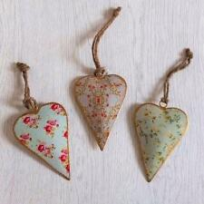 Shabby Vintage Chic Style FLORAL Hanging Tin Metal LOVE HEART Decoration