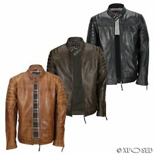 New Mens Vintage Real Leather Biker Washed Tan Brown Black Slim Fit Urban Jacket