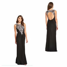 FOREVER UNIQUE Beaded Maxi Dress Black Ladies low back Evening Womens All Sizes