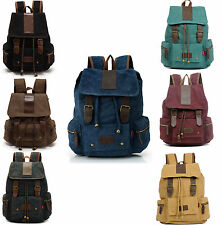 Canvas Backpack Vintage Retro Sport Rucksack Military Satchel Hiking School Bag