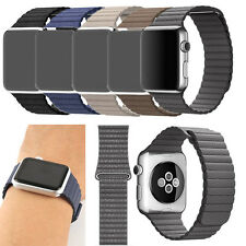 For Apple iWatch Genuine Leather Loop Type Watch Band Strap W/ Buckle 38/42mm