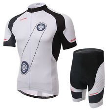 Cycling Bike Jersey and (Bib) Shorts Set Quick Dry Outdoor Sports White wheel
