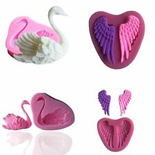 1PC 3D Swan Angel Wings Shape Fondant Cake Decorating Tools Silicone Soap Mould