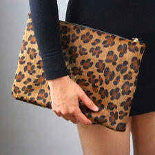 Leopard Faux Pony Horse Hair Fur Envelope Clutch Purse Bag Handbag Brown Large