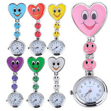 Adorable Women Smiling Faces Heart Clip-On Pendant Nurse Fob Brooch Pocket Watch