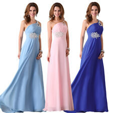 Chiffon One Shoulder Long Formal Evening Cocktail Bridesmaid Homecoming Dresses