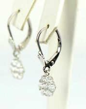 Sterling Silver 925 flower CZ Stone dangle earrings