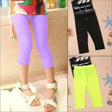 2-7Y Candy Color Child Kids Girl Stretch Tight Cropped Capris Leggings Pants M81