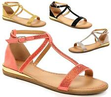 Ladies Gladiator Sandals Flat Strappy Fancy Girls Womens Summer Beach Shoes Size