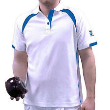 TAYLOR ACE XV1 GENTS BOWLS SHIRT - BLUE TRIM - various sizes. NEW FOR 2016 .