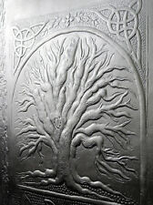 A5 Refillable Handmade Leather Journal TREE of LIFE - Hand-Tooled Black Leather