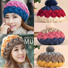Womens Lady Knit Wool Crochet Ski Hats Winter Braided Warm Beanie Ball Cap Hot