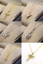 """18k Yellow Gold Filled Necklace Pendant Cross Dragonfly 18""""Chain Link GF Jewelry"""