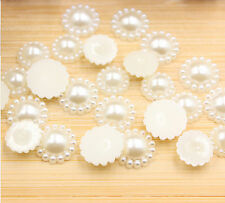 50pcs Half Pearl Round Bead Flat Back 12/15/18/20mm Scrapbook for Craft FlatBack