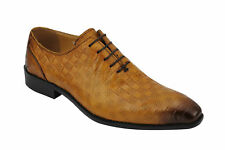 Mens NewReal Leather Tan Perforated Vintage Lace up Smart Dress Oxford Shoes