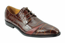 Mens Real Genuine Leather Brown Crocodile Skin Effect Smart Dress Lace up Shoes