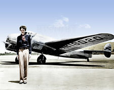 Amelia Earhart Pilot Atlantic world lost missing airplane aircraft color