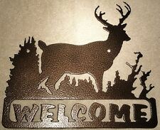 Deer Welcome Sign Metal Wall Art Home Decor