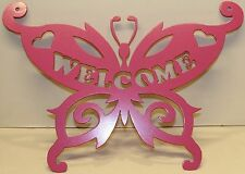 Butterfly Welcome Sign Metal Wall Art Home Decor