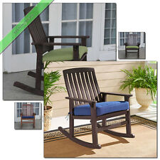 Porch Rocking Chair with Cushions Outdoor Patio Chairs Wooden Furniture, Brown