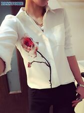 LONG SLEEVE SHIRT BLOUSE T TOPS PRINT WOMEN WOMENS NECK LOOSE FLORAL WHITE SIZE