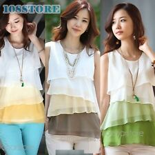 KOREAN SLEEVELESS BLOUSE CHIFFON T SHIRT FASHION TOPS VEST WOMENS WOMEN TOP TANK