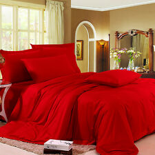 LaxLinens - USA Bedding Collection, RED (Solid & Stripe)  Cotton Sheets - 600 TC