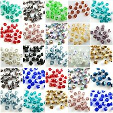Lots 500Pcs Faceted Bicone Crystal Glass Beads Rhinestone Loose Findings 4mm