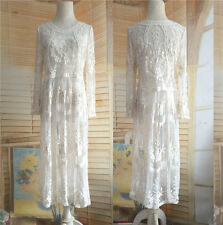 Sexy Women Embroidery Dress Net Yarn Lace Crochet Smock Perspective Long Dresses