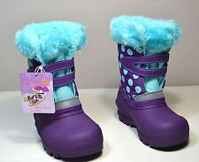 NWT GIRLS SKECHERS PURPLE BLUE INSULATED SNOW RAIN BOOTS SHOES SZ 6C