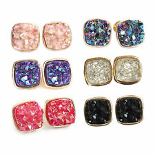 Delicate Women Colorful Druzy Earrings Natural Agate Geode Golden Small Ear Stud
