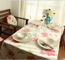 Elegant Pink Red Flower Dinning Coffee Table 100% Cotton Cloth Covering O