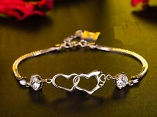 18K White Gold GP gem Swarovski Crystal Heart  Hand Chain Bracelet Bangle BT32b
