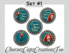 Bottle Cap Magnets/Set of 5/ Merida Inspired/Packaged Gift/ Quotes/ Disney Brave