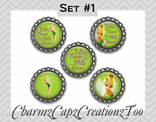 Bottle Cap Magnets/Set of 5/ Tinkerbell Inspired/Packaged Gift/Quotes/ Peter Pan